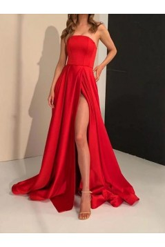 A-Line Strapless Long Satin Prom Dresses Formal Evening Gowns 6011117