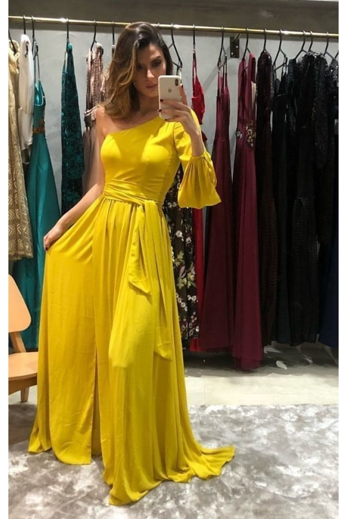 A-Line One Sleeves Long Prom Dresses Formal Evening Gowns 6011124