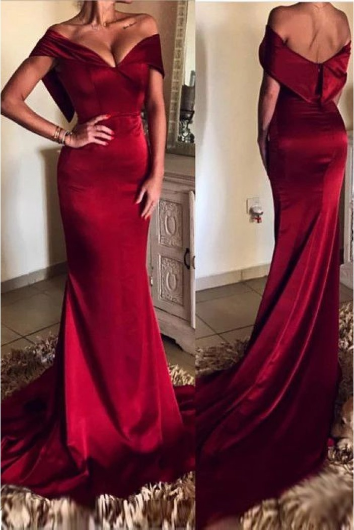 Mermaid Off-the-Shoulder Long Prom Dresses Formal Evening Gowns 6011125