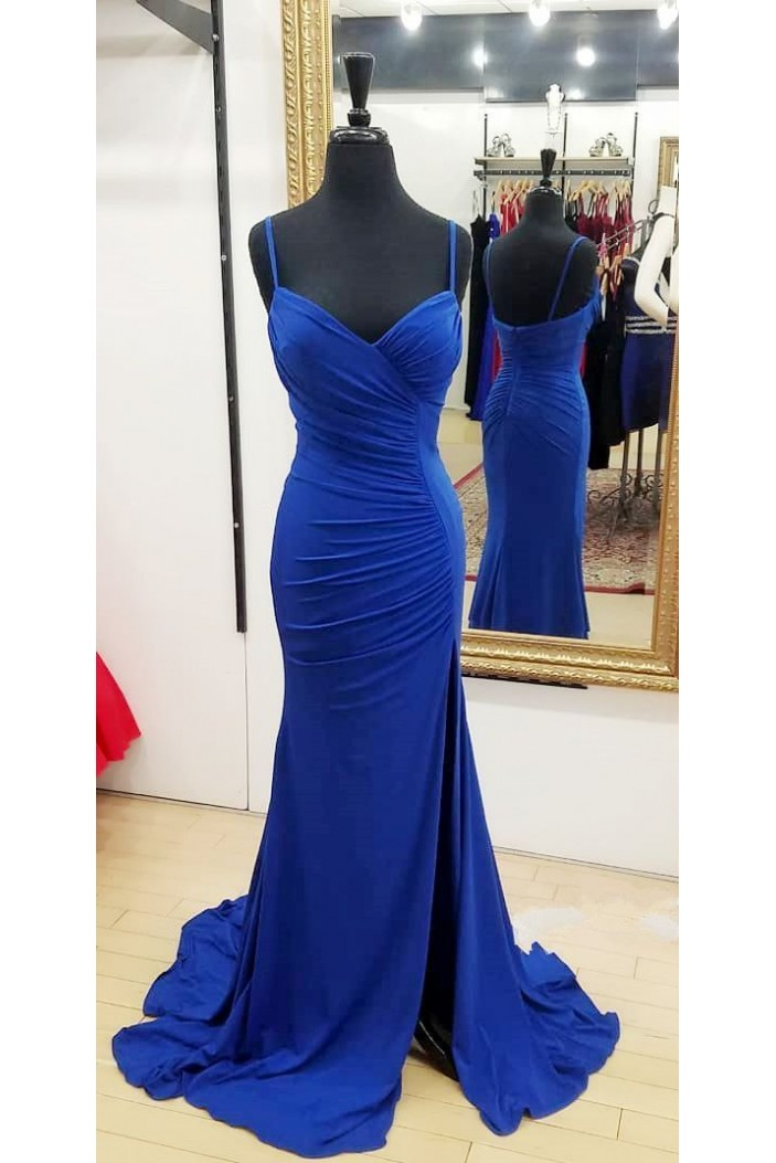 Mermaid Spaghetti Straps Long Prom Dresses Formal Evening Gowns 6011129