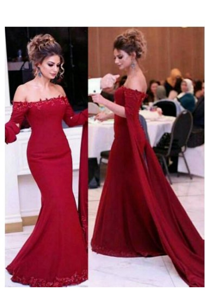 Mermaid Beaded Lace Off-the-Shoulder Long Prom Dresses Formal Evening Gowns 6011131