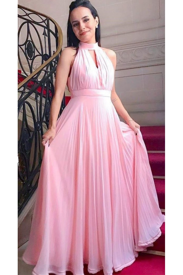 A-Line Chiffon Long Pink Prom Dresses Formal Evening Gowns 6011134