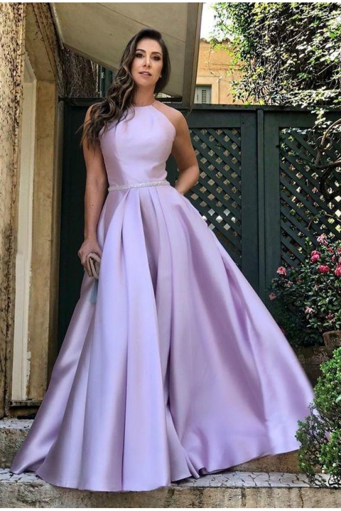 A-Line Satin Long Prom Dresses Formal Evening Gowns 6011136