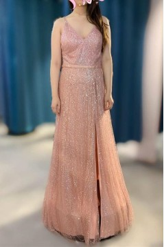 A-Line V-Neck Long Prom Dresses Formal Evening Gowns 6011139