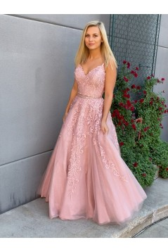 A-Line Lace Two Pieces Long Prom Dresses Formal Evening Gowns 6011140