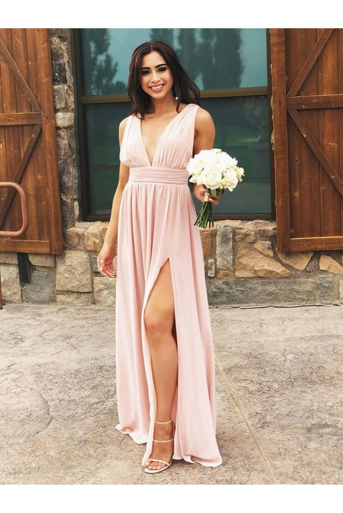 A-Line V-Neck Chiffon Long Prom Dresses Formal Evening Gowns 6011141