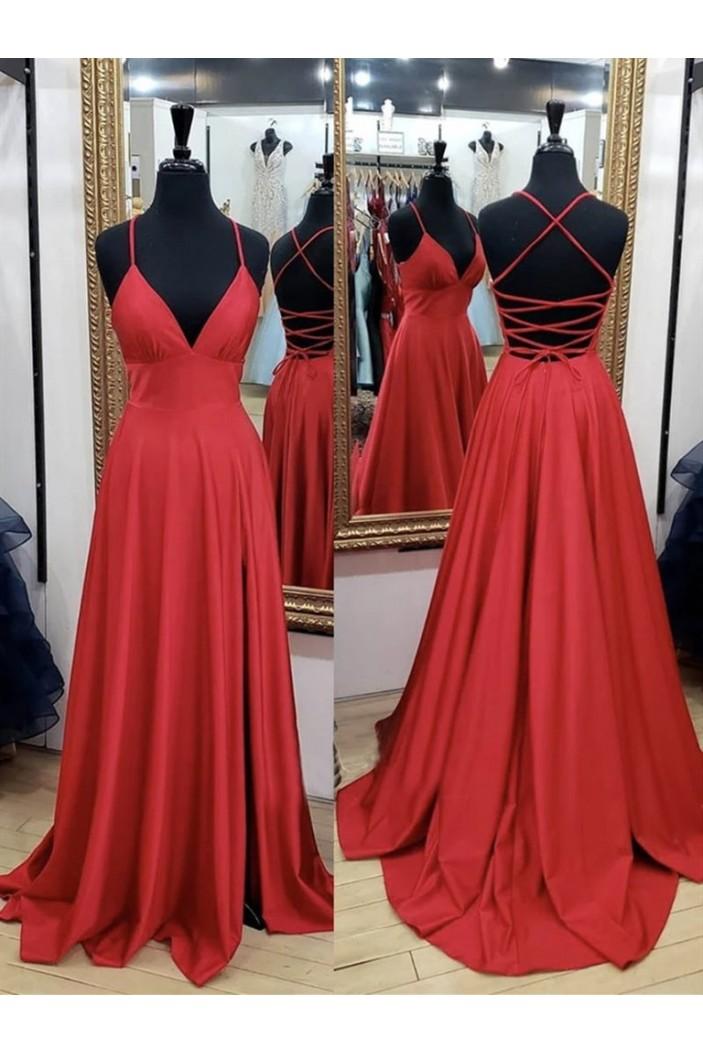 A-Line V-Neck Long Prom Dresses Formal Evening Gowns 6011143