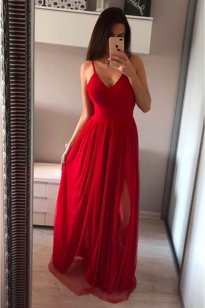 A-Line Long Red Chiffon V-Neck Prom Dresses Formal Evening Gowns 6011144