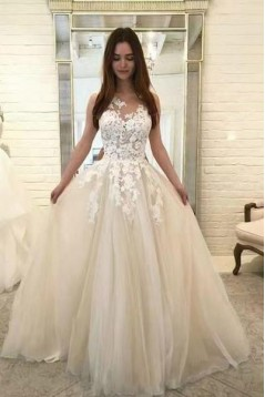 A-Line Lace Tulle Long Prom Dresses Formal Evening Gowns 6011145
