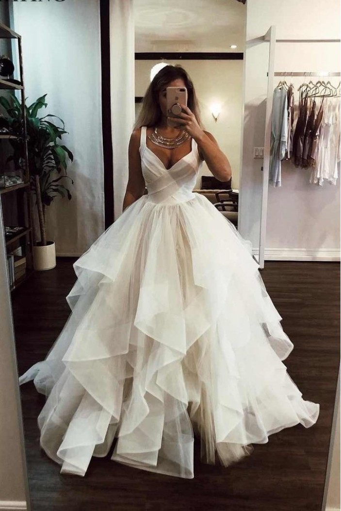 Ball Gown V-Neck Long Prom Dresses Formal Evening Gowns 6011149