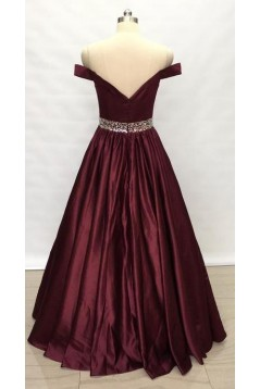 A-Line Beaded Off-the-Shoulder Long Prom Dresses Formal Evening Gowns 6011152