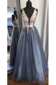 A-Line Lace Tulle V-Neck Long Prom Dresses Formal Evening Gowns 6011156