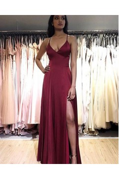 Simple Stunning V-Neck Long Prom Dresses Formal Evening Gowns 6011157