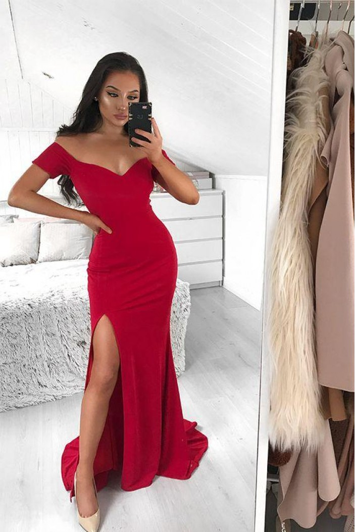 Mermaid Off-the-Shoulder Long Prom Dresses Formal Evening Gowns 6011158