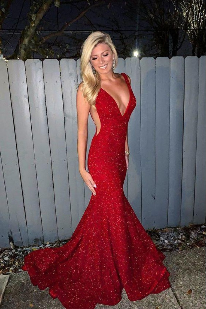 Mermaid V-Neck Long Red Sequins Prom Dresses Formal Evening Gowns 6011159
