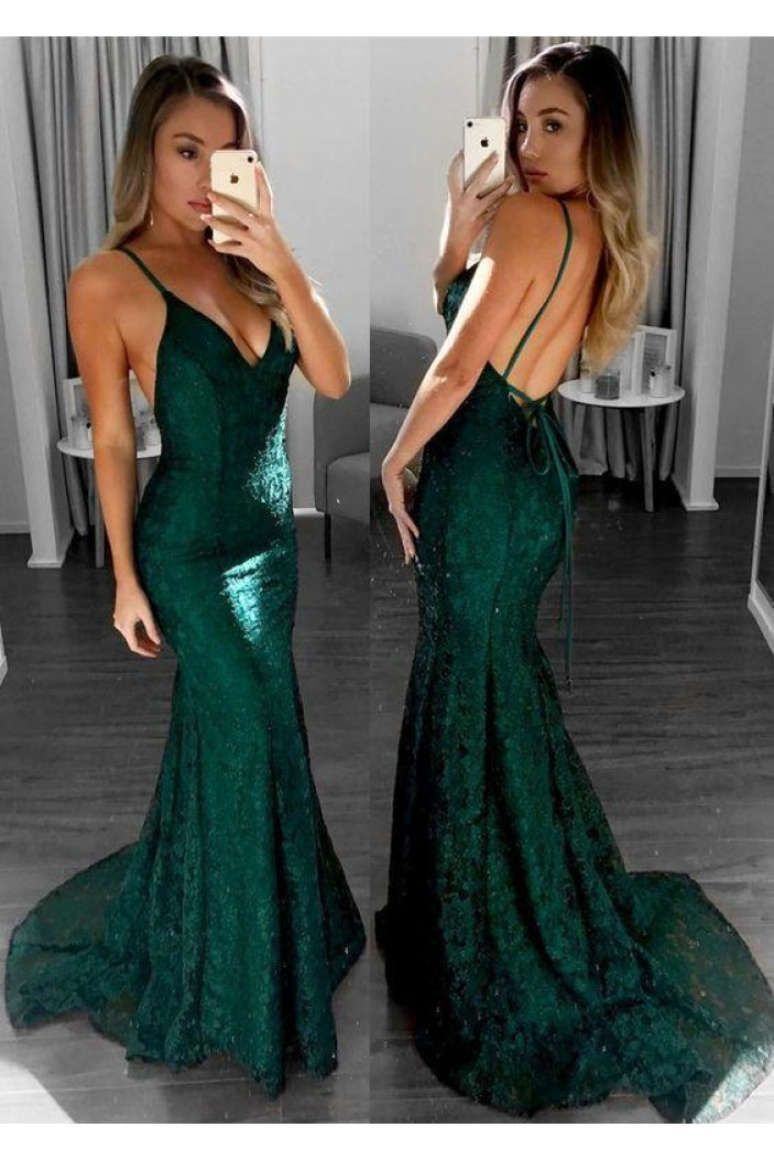 Mermaid Lace V-Neck Long Prom Dresses Formal Evening Gowns 6011161