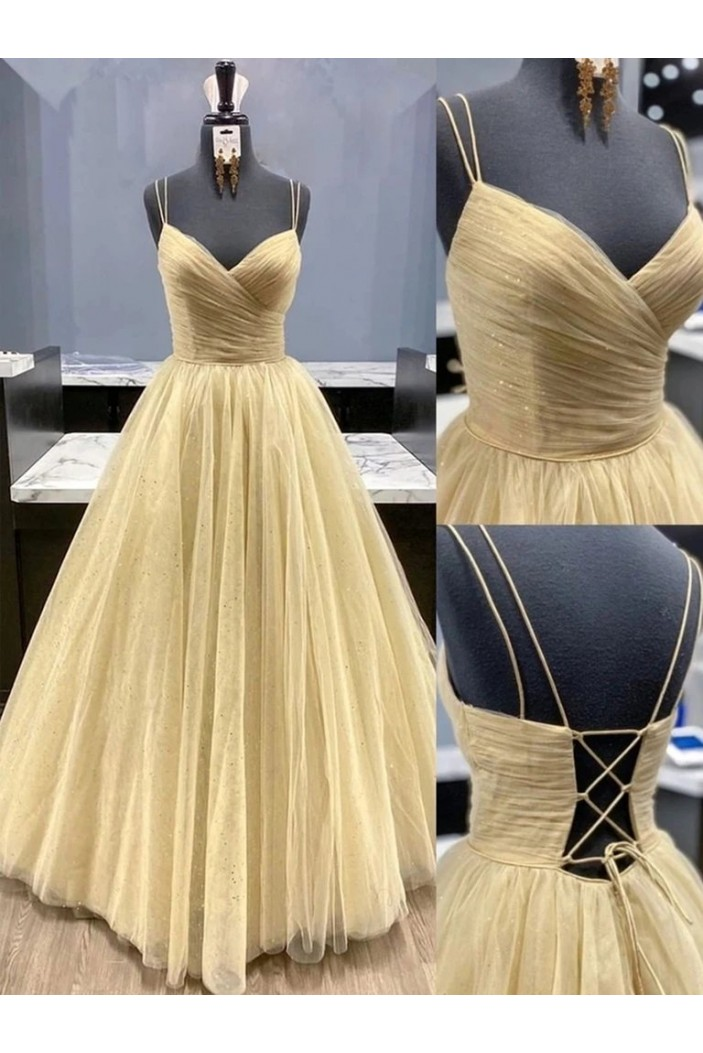 A-Line Tulle Long Prom Dresses Formal Evening Gowns 6011163