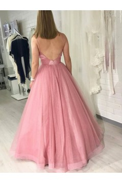 A-Line Tulle Long Prom Dresses Formal Evening Gowns 6011165