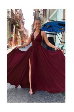 Elegant A-Line V-Neck Long Prom Dresses Formal Evening Gowns 6011172