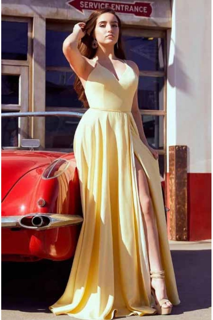 A-Line Simple V-Neck Long Prom Dresses Formal Evening Gowns 6011177