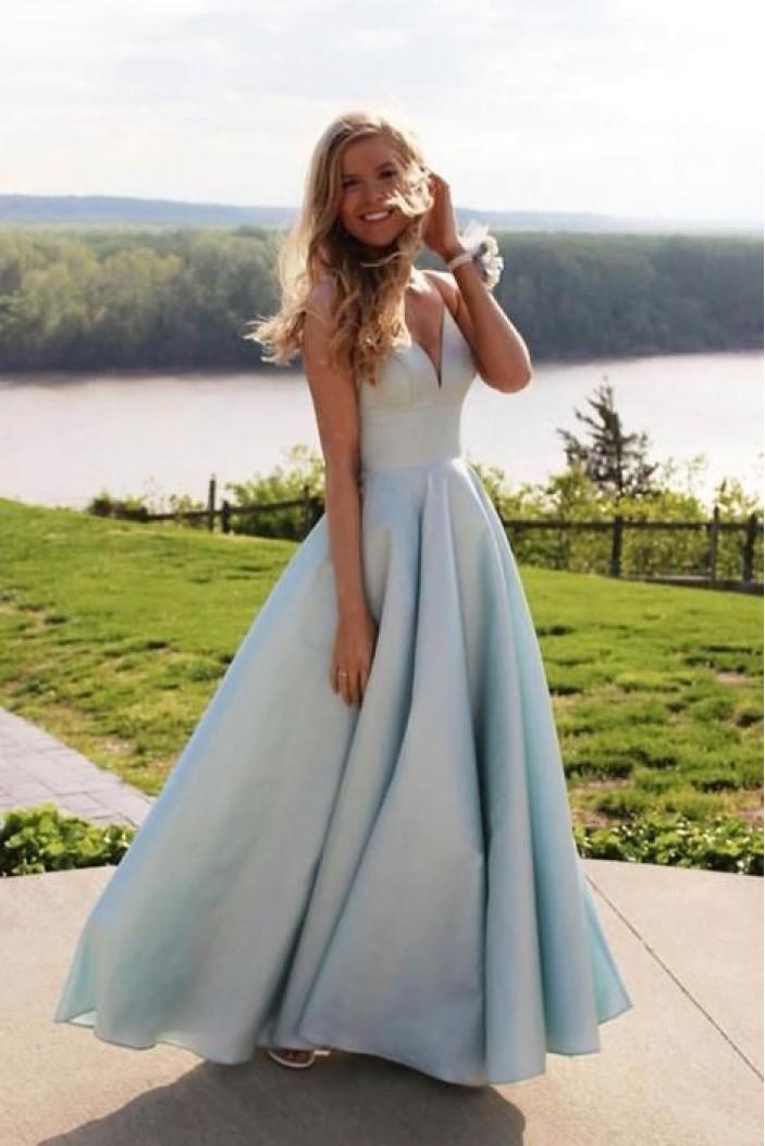 A-Line V-Neck Long Prom Dresses Formal Evening Gowns 6011178