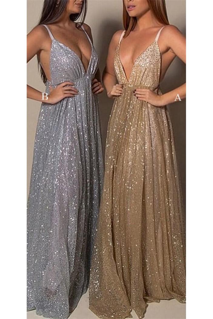 A-Line Sequins V-Neck Long Prom Dresses Formal Evening Gowns 6011190