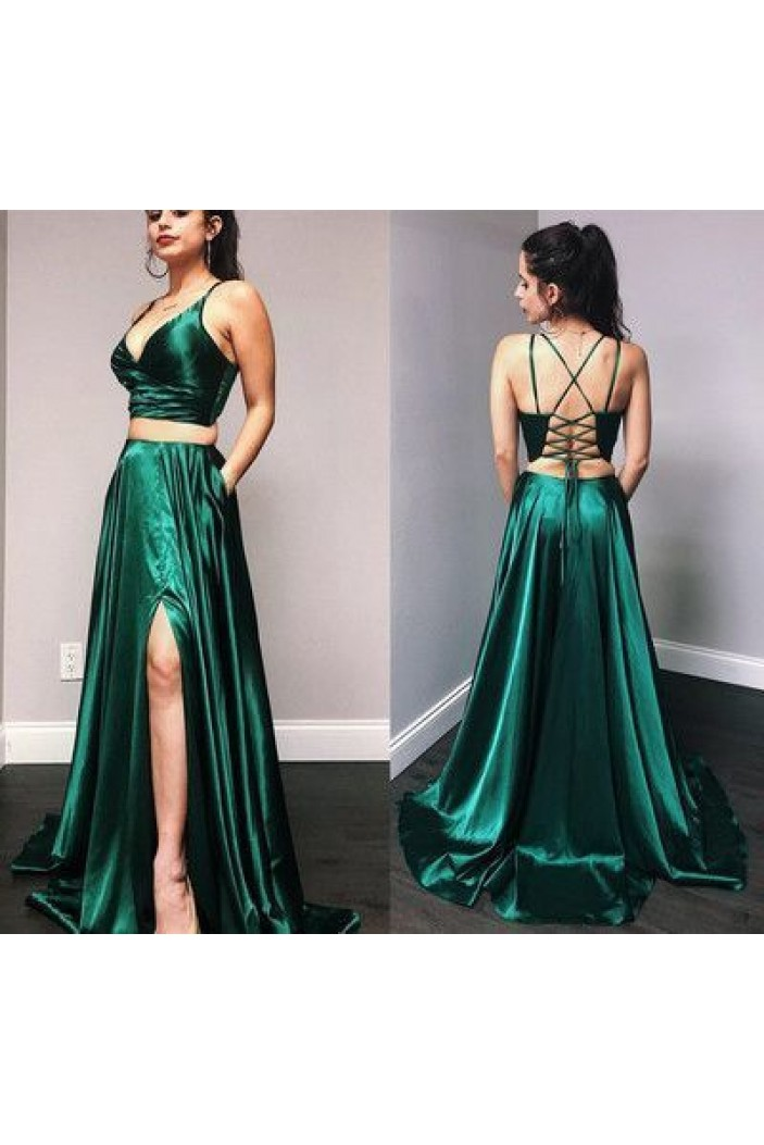 A-Line Two Pieces Long Prom Dresses Formal Evening Gowns 6011193