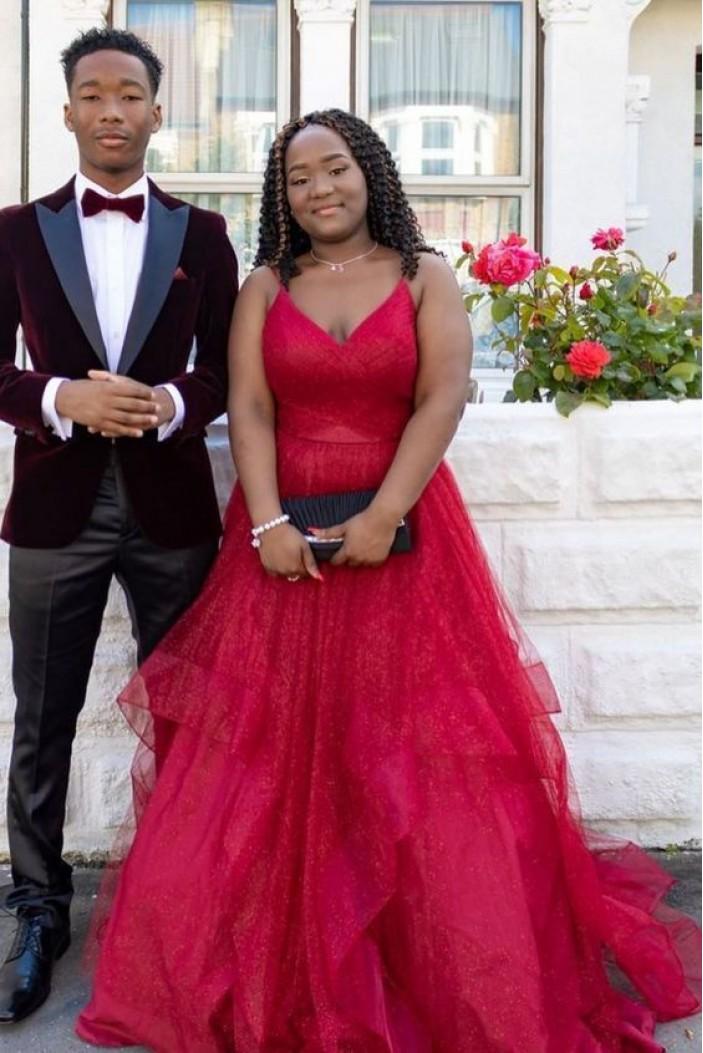 A-Line V-Neck Long Prom Dresses Formal Evening Gowns 6011194