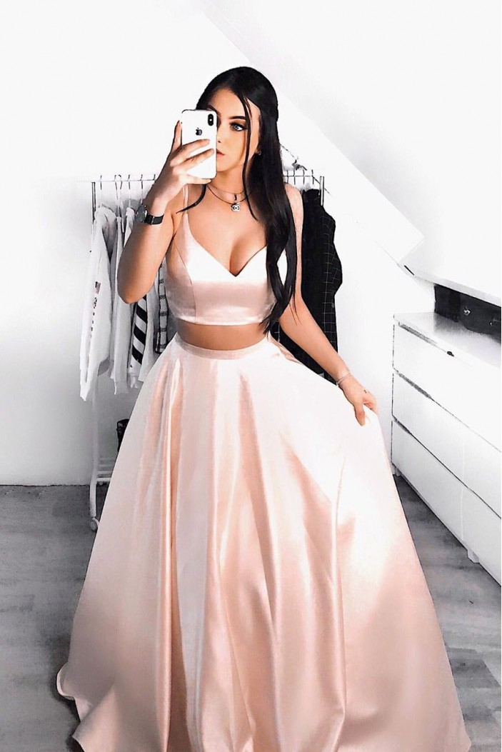 A-Line V-Neck Two Pieces Long Prom Dresses Formal Evening Gowns 6011202