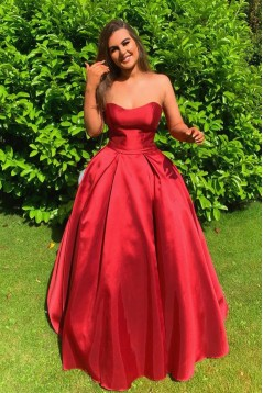 A-Line Strapless Long Prom Dresses Formal Evening Gowns 6011203