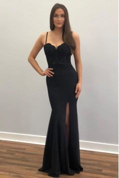 Long Black Lace Mermaid Prom Dresses Formal Evening Gowns 6011205