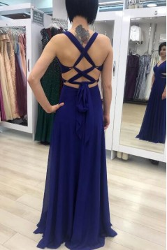 A-Line Chiffon V-Neck Long Prom Dresses Formal Evening Gowns 6011212