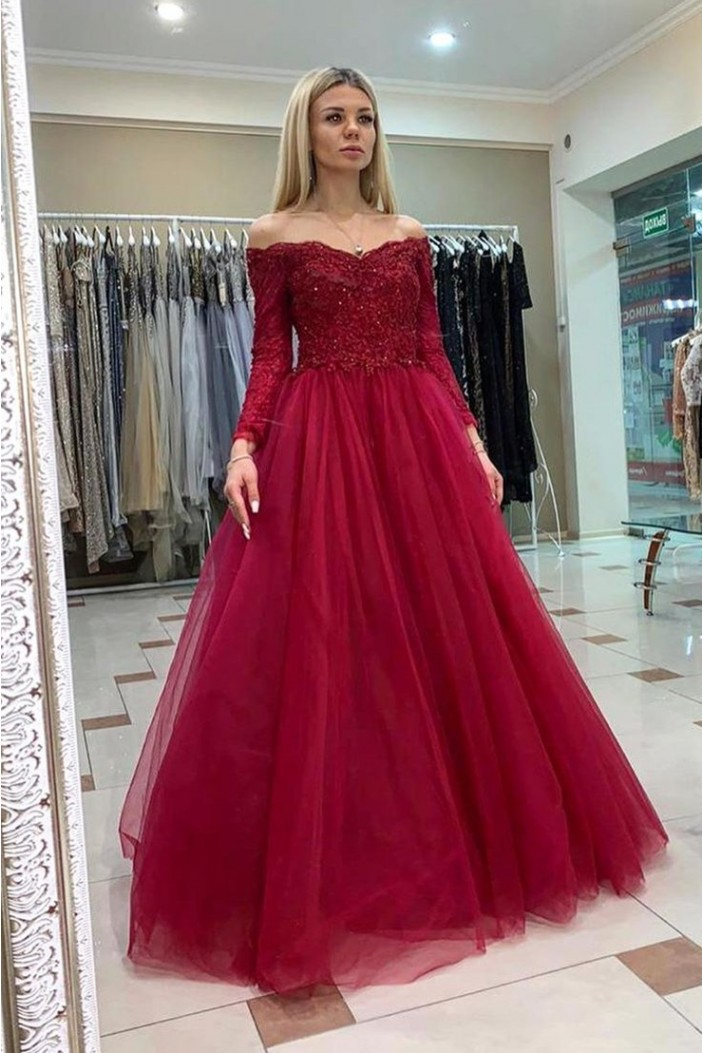 A-Line Beaded Off-the-Shoulder Lace Long Prom Dresses Formal Evening Gowns 6011213