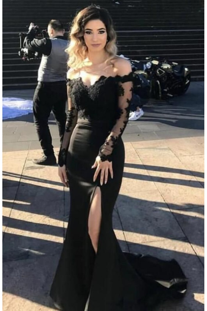 Long Black Lace Mermaid Prom Dresses Formal Evening Gowns 6011216