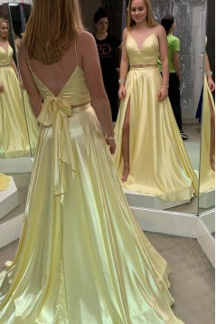 A-Line Two Pieces Long Prom Dresses Formal Evening Gowns 6011217