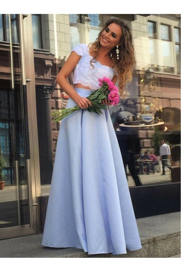 A-Line Lace Two Pieces Long Prom Dresses Formal Evening Gowns 6011219