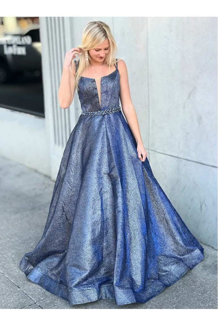 A-Line Beaded Sparkly Long Prom Dresses Formal Evening Gowns 6011222