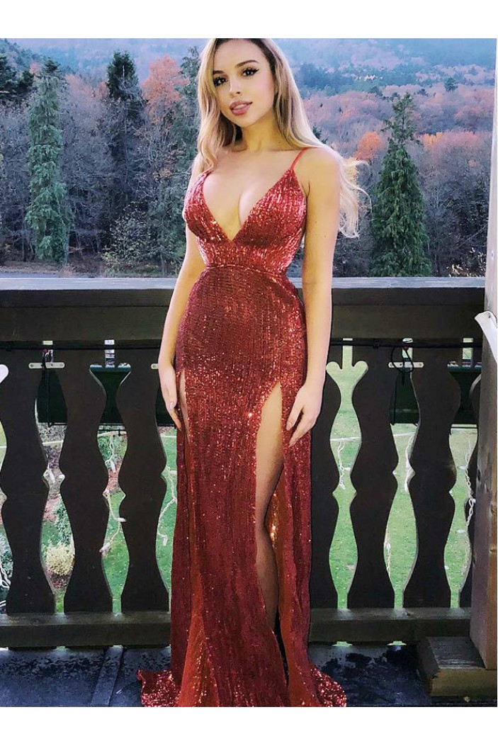 Sequins V-Neck Long Prom Dresses Formal Evening Gowns 6011224