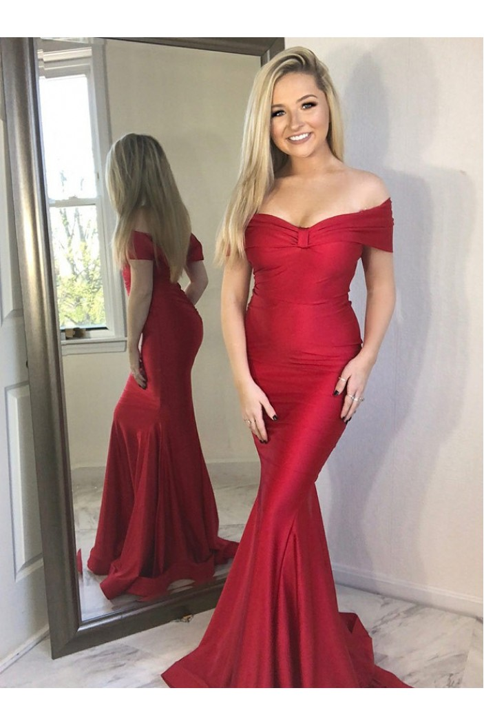 Mermaid Off-the-Shoulder Long Prom Dresses Formal Evening Gowns 6011225