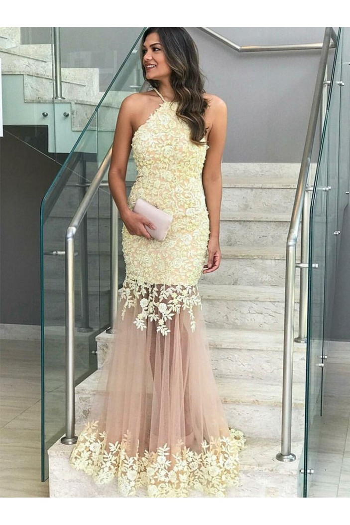 Mermaid Lace Long Prom Dresses Formal Evening Gowns 6011226