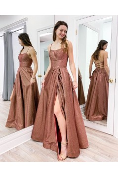 A-Line Sparkle Long Prom Dresses Formal Evening Gowns 6011233