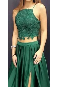 A-Line Two Pieces Long Prom Dresses Formal Evening Gowns 6011236