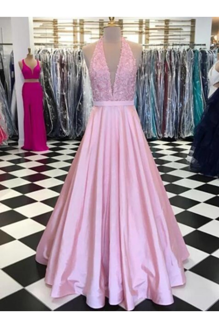 A-Line Long Pink Lace Prom Dresses Formal Evening Gowns 6011237