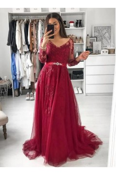 A-Line Long Sleeves Beaded Lace Long Prom Dresses Formal Evening Gowns 6011238