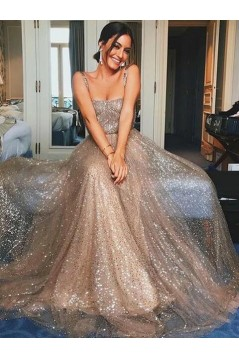 A-Line Sequins Long Prom Dresses Formal Evening Gowns 6011241