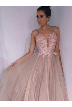 A-Line Tulle Lace Long Prom Dresses Formal Evening Gowns 6011242