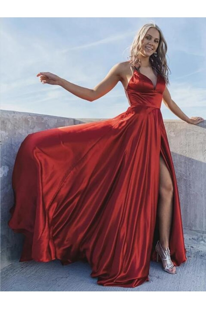 A-Line V-Neck Satin Long Prom Dresses Formal Evening Gowns 6011245