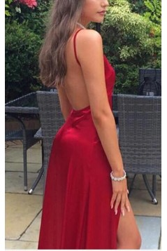 A-Line V-Neck Backless Long Prom Dresses Formal Evening Gowns 6011246