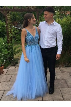 A-Line Beaded Tulle V-Neck Long Prom Dresses Formal Evening Gowns 6011248