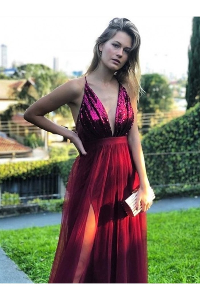 A-Line Sequins Tulle Long Prom Dresses Formal Evening Gowns 6011249